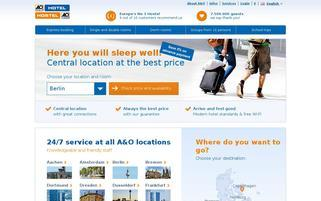 A&O Hotels Webseiten Screenshot