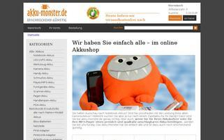 AKKU Monster Webseiten Screenshot