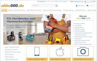 Akku500 Webseiten Screenshot