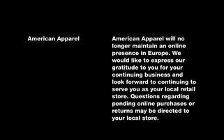 American Apparel Webseiten Screenshot