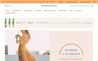 Anthropologie Webseiten Screenshot