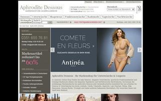 Aphrodite Dessous Webseiten Screenshot