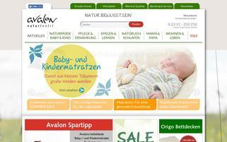 Avalon Naturtextil Webseiten Screenshot