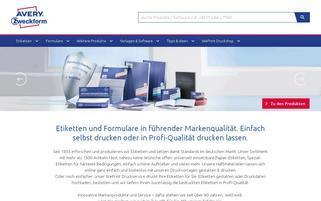 Avery Zweckform Webseiten Screenshot