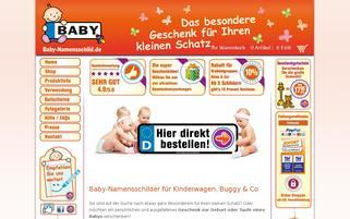 Baby-Namensschild Webseiten Screenshot