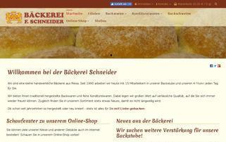 Bäckerei Frank Schneider Webseiten Screenshot