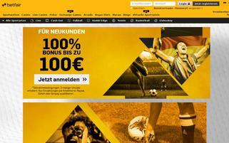 Betfair Webseiten Screenshot