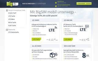 BigSIM Webseiten Screenshot
