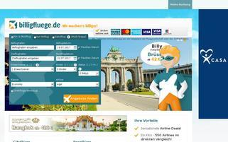 Billigfluege.de Webseiten Screenshot