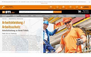 BTI Arbeitskleidung Webseiten Screenshot