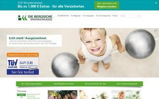 Die Bergische Krankenkasse Webseiten Screenshot
