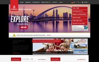 Emirates Webseiten Screenshot