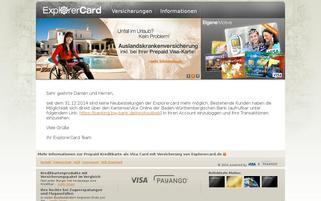 explorercard.de Webseiten Screenshot