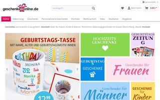 Geschenke Online Webseiten Screenshot