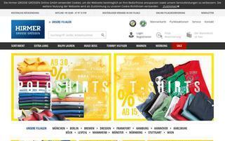 Hirmer Grosse Grössen Webseiten Screenshot