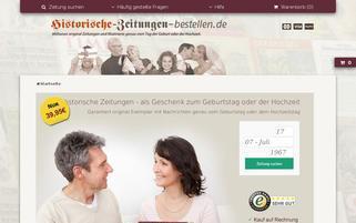 Historische Zeitungen bestellen Webseiten Screenshot