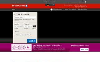Hotels.com Webseiten Screenshot