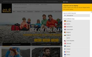 Jack Wolfskin Webseiten Screenshot