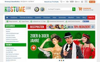Kostüme.com Webseiten Screenshot