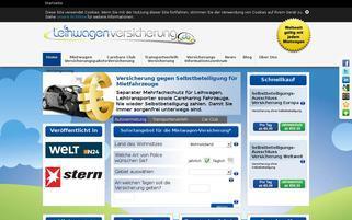 Leihwagenversicherung Webseiten Screenshot