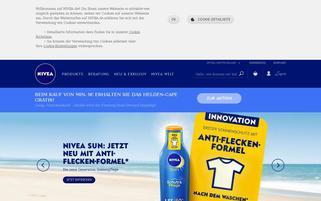 NIVEA Webseiten Screenshot