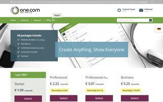 One.com Schweiz Webseiten Screenshot