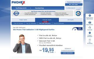 Phonex Webseiten Screenshot