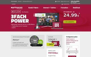 primacom Webseiten Screenshot
