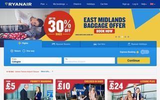 Ryanair Webseiten Screenshot