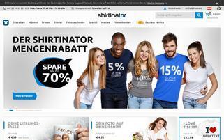Shirtinator Österreich Webseiten Screenshot