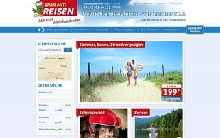 Spar mit! Reisen Webseiten Screenshot