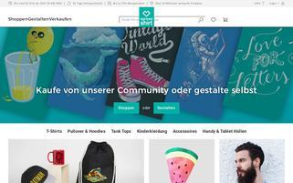 Spreadshirt Webseiten Screenshot