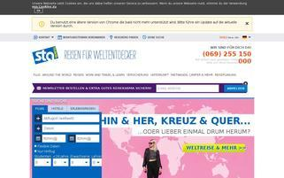 STA Travel Webseiten Screenshot