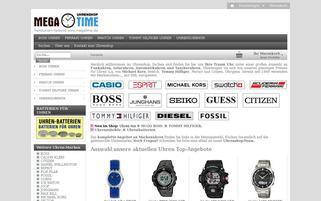 Uhrenshop Megatime Webseiten Screenshot