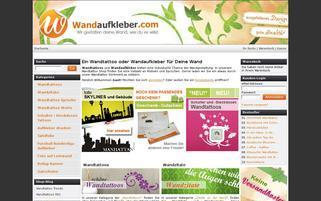 Wandaufkleber Webseiten Screenshot