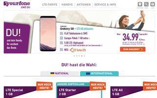 Yourfone Webseiten Screenshot