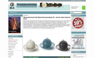 Zimmerbrunnenshop Webseiten Screenshot