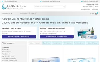 Lenstore Webseiten Screenshot