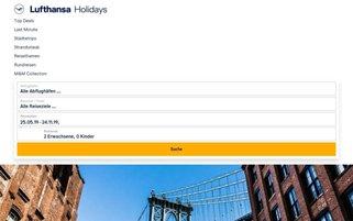 Lufthansa Holidays Webseiten Screenshot