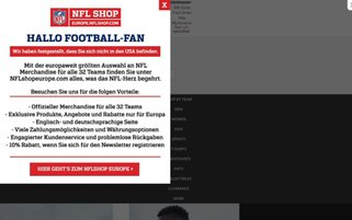 NFL Store Webseiten Screenshot