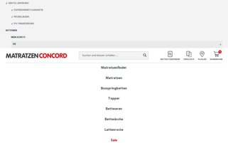 Matratzen Concord Webseiten Screenshot