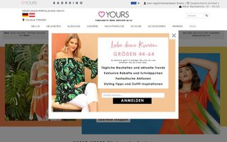 Yours Clothing Webseiten Screenshot