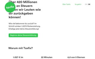 Taxfix Webseiten Screenshot