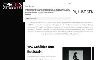 ZEROOS WC-Schilder Webseiten Screenshot