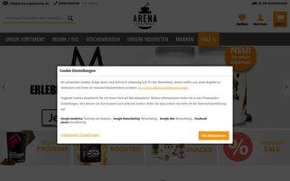 Arena Supplements Webseiten Screenshot